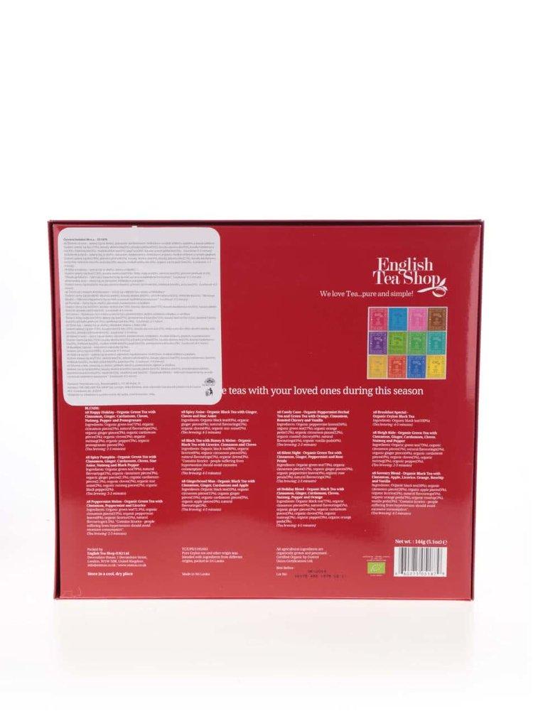 Červená darčeková kazeta čajov English Tea Shop Vianočná