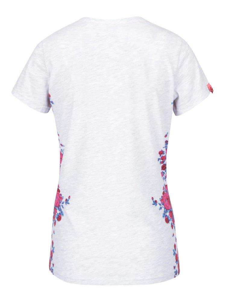 Tricou gri melanj Superdry Quality cu imprimeu floral