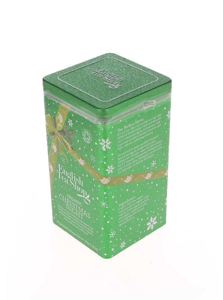 Zelená plechovka čajů English Tea Shop Vánoční noc