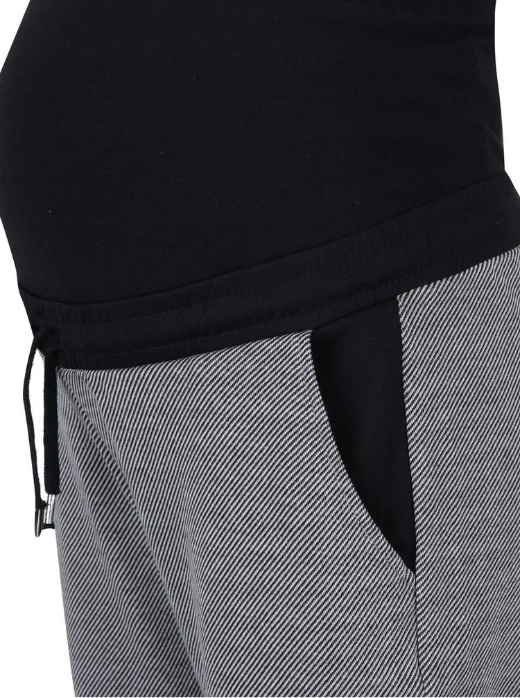 Černo-šedé pruhované těhotenské tepláky Mama.licious Tweed