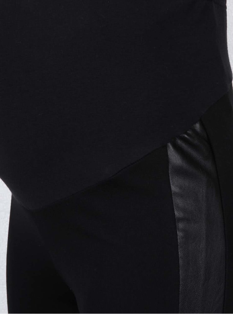 Černé těhotenské legíny s koženkovými detaily Mama.licious Lak