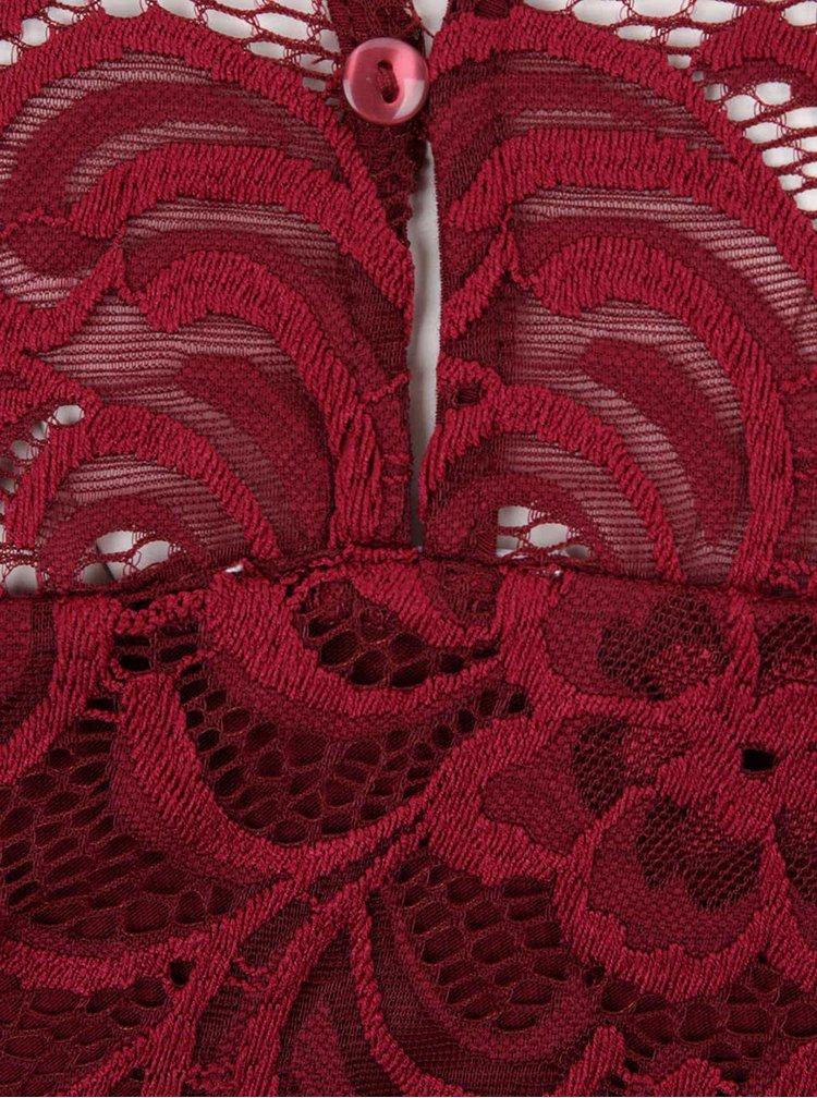 Vínové krajkové těhotenské šaty  s 3/4 rukávem Mama.licious New Mivana