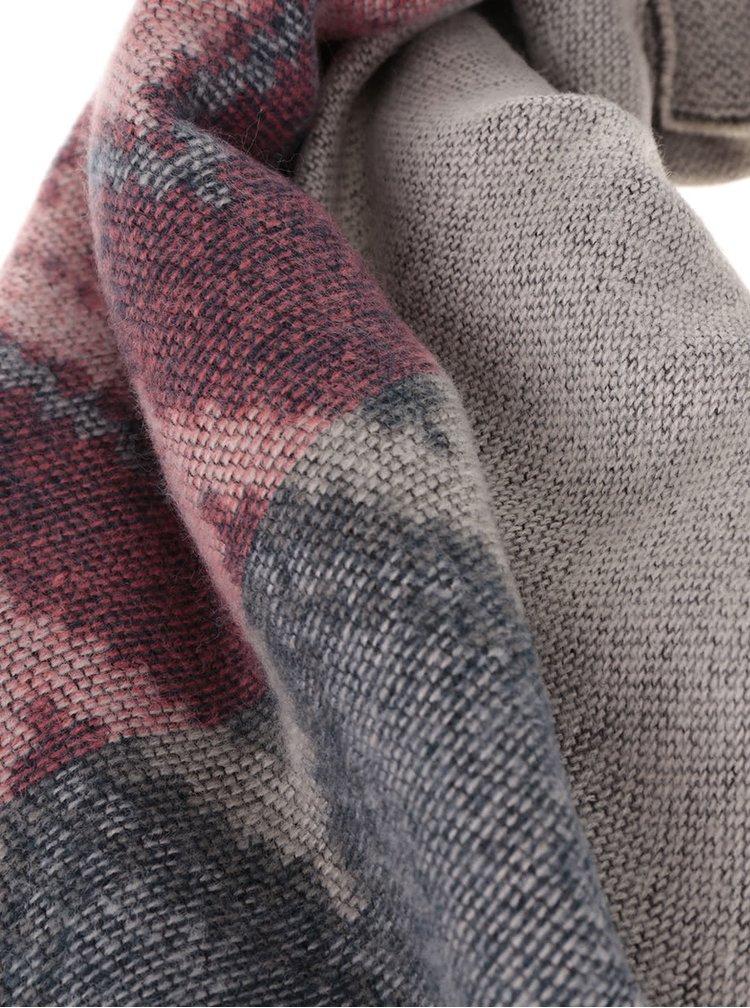 Růžovo-šedá šála se vzorem Pieces Parma