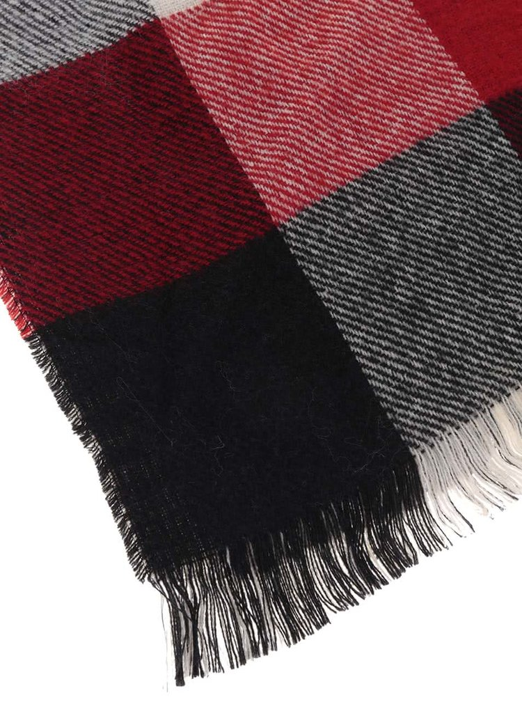 Černo-krémovo-červená kostkovaná šála ONLY Othilde