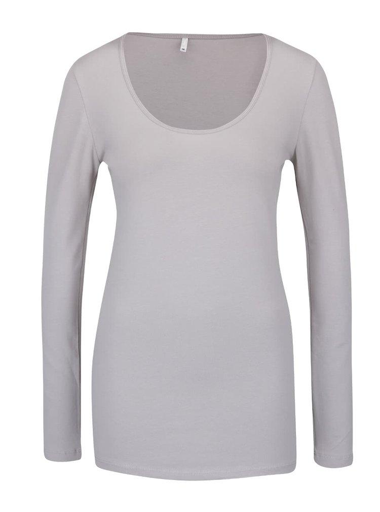 Sivé tričko s dlhým rukávom ONLY Live Love
