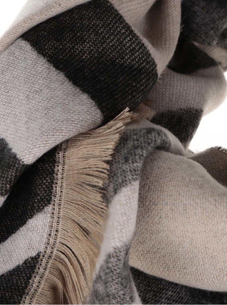 Černo-béžová vzorovaná šála ONLY Omaja
