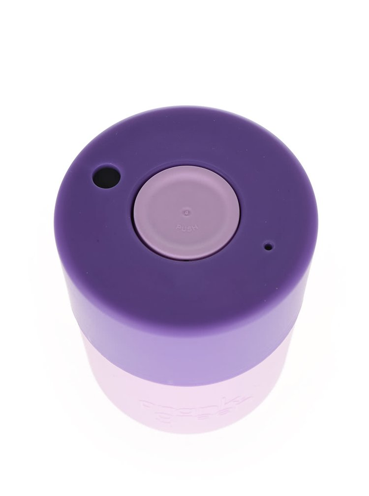 Růžový SmartCup s fialovým víčkem Frank Green 230 ml