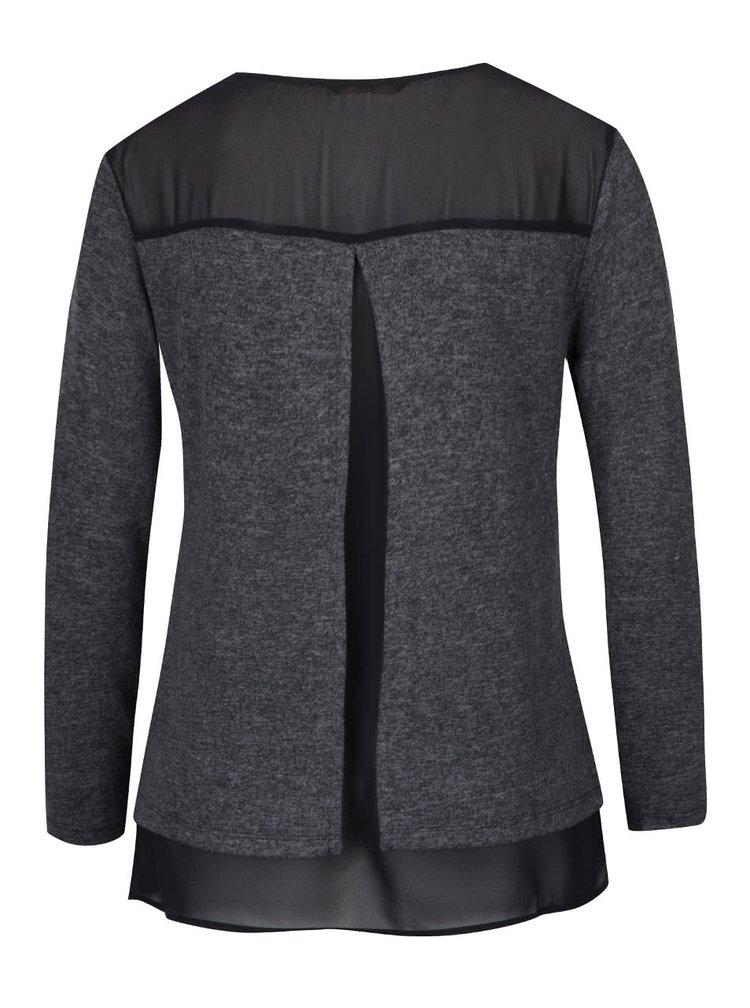 Černo-šedé žíhané tričko s průsvitným dílem ONLY Rea