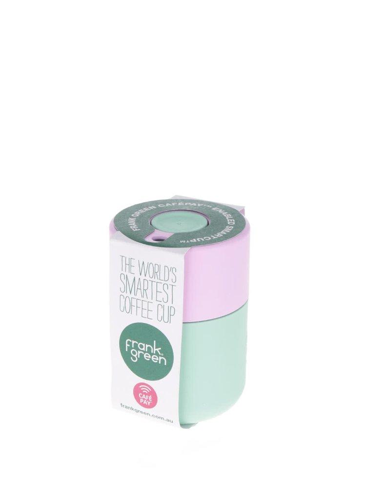 Světle zelený SmartCup s růžovým víčkem Frank Green 230 ml
