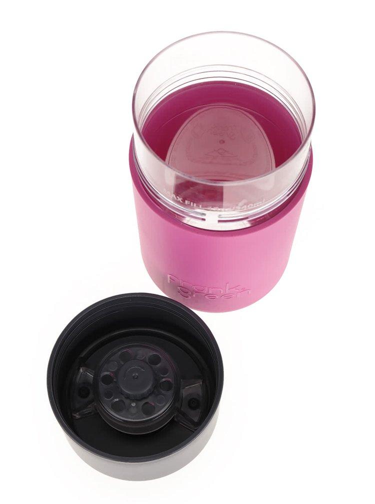 Růžový SmartCup s šedým víčkem Frank Green 340 ml