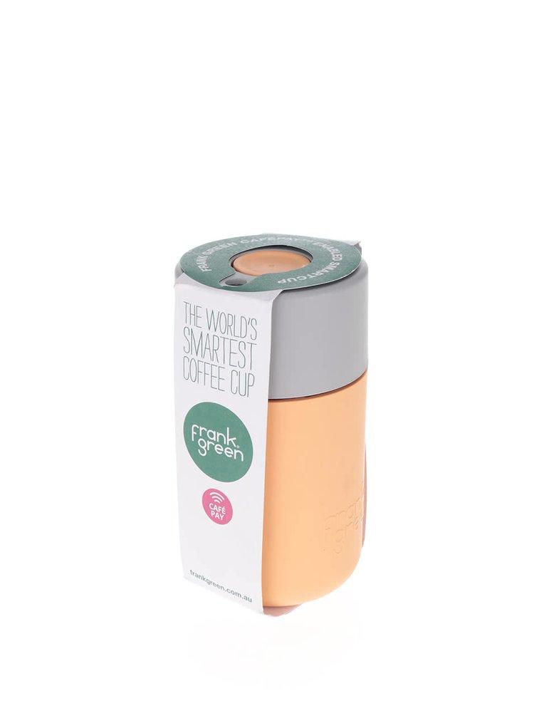 Oranžový SmartCup s šedým víčkem Frank Green 340 ml