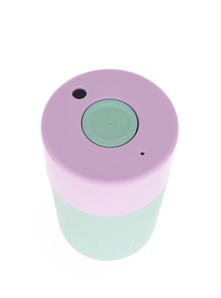 Světle zelený SmartCup s růžovým víčkem Frank Green 340 ml