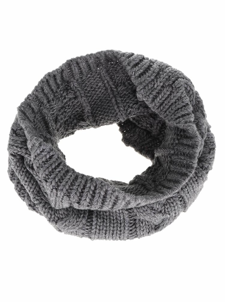 Tmavě šedá holčičí dutá pletená šála 5.10.15.