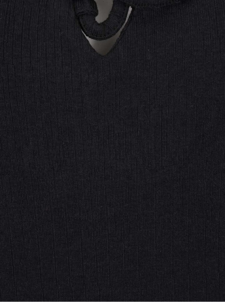 Černé žebrované tričko se šněrováním v dekoltu ONLY Hanna