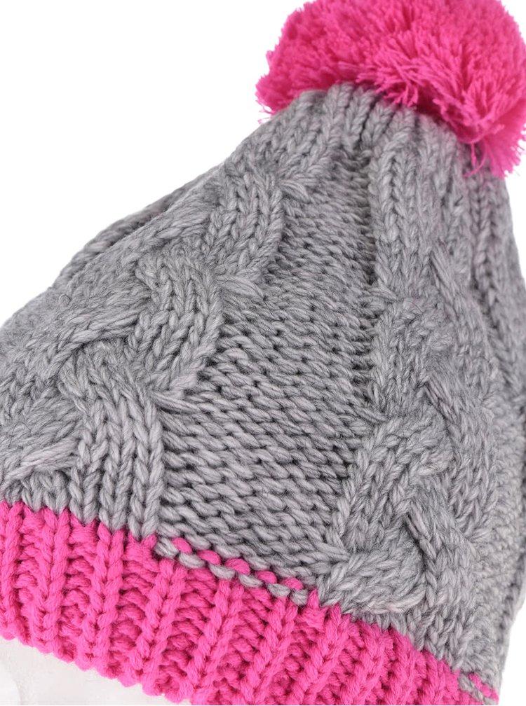 Růžovo-šedý holčičí pletený kulich s bambulí 5.10.15.