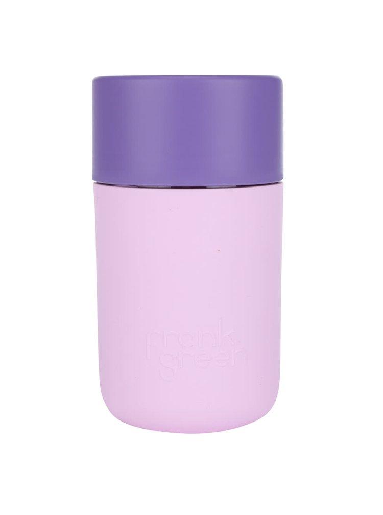Růžový SmartCup s fialovým víčkem Frank Green 340 ml