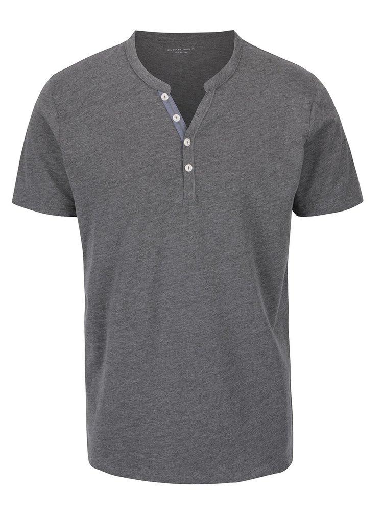 Tmavě šedé triko s knoflíky Selected Homme Pima