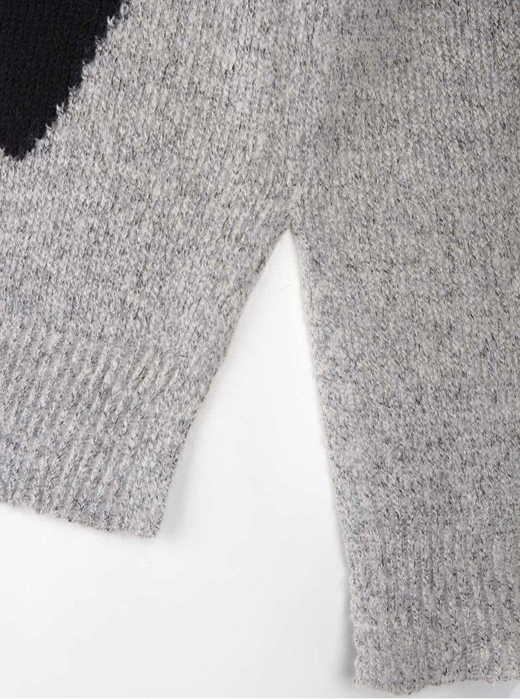 Černo-šedý svetr s potiskem srdíček ONLY Essia