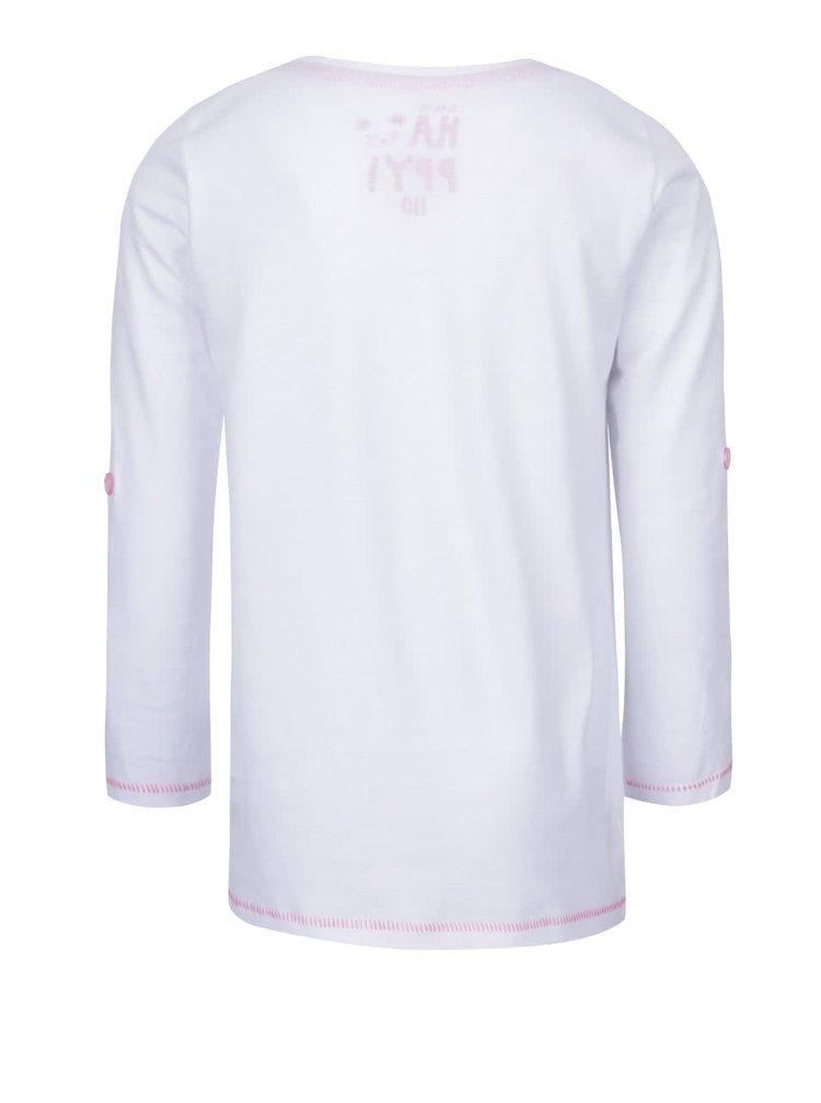Biele dievčenské tričko s nášivkami a dlhým rukávom 5.10.15.