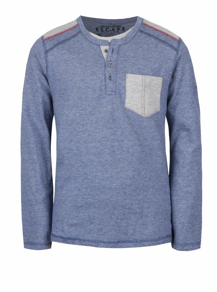 Šedo-modré klučičí triko s kapsou a dlouhým rukávem 5.10.15.