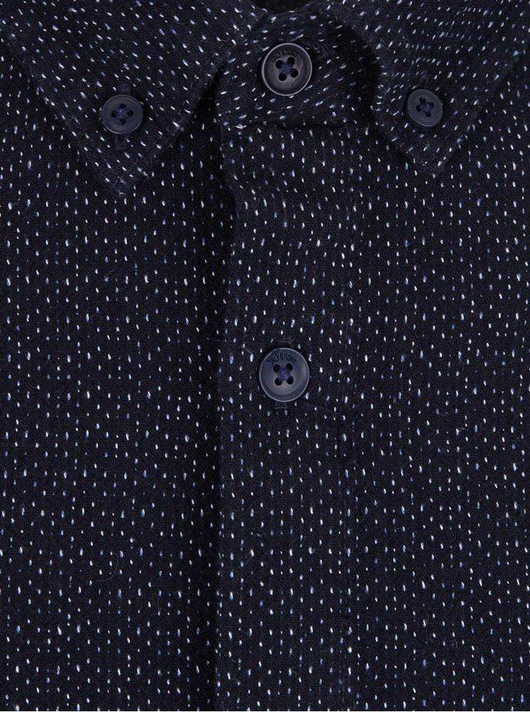 Tmavomodrá melírovaná košeľa ONLY & SONS Emilio