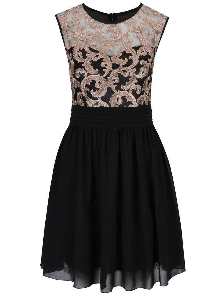 Černé šaty s výšivkou ve zlaté barvě Mela London