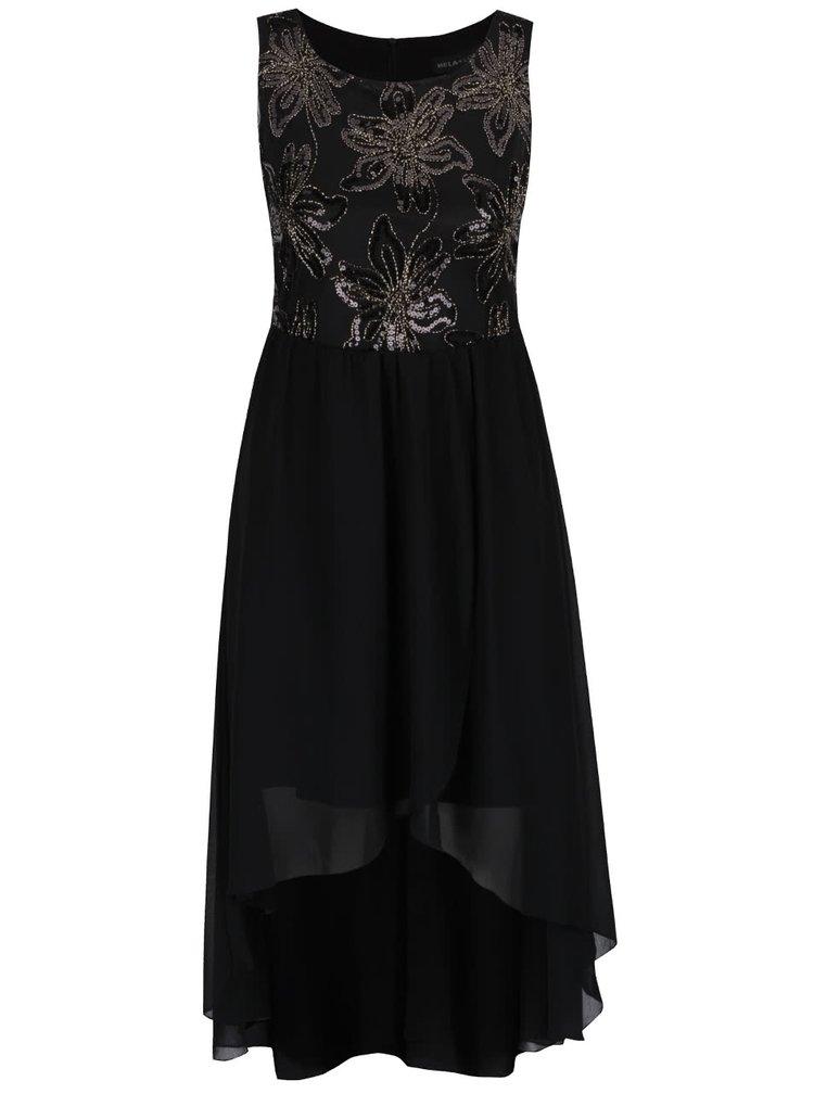 Černé šaty s flitry a prodlouženou zadní částí Mela London
