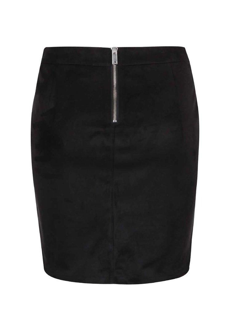 Černá sukně v semišové úpravě VILA Paulina