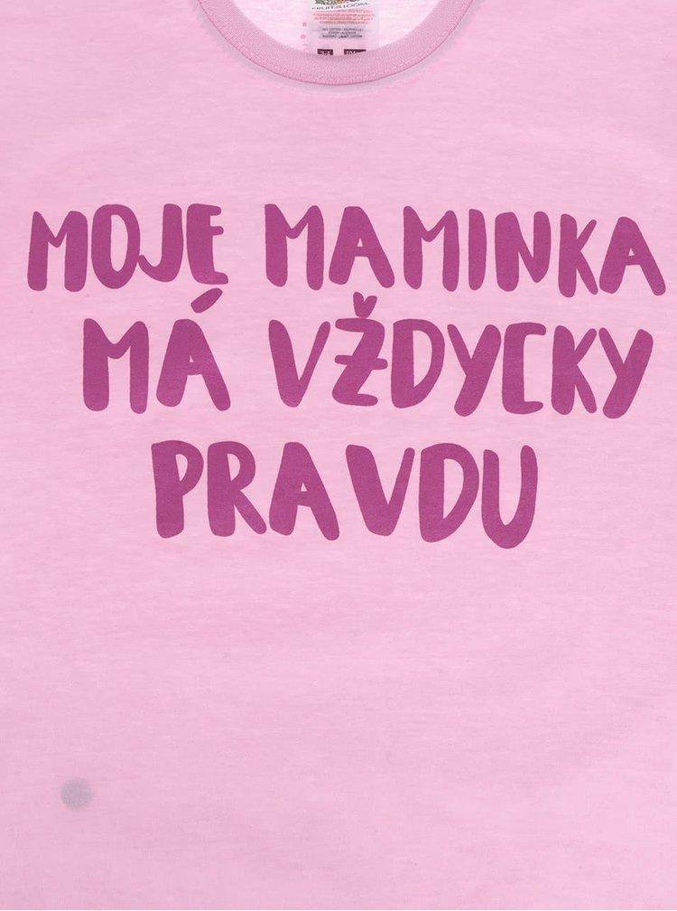 Růžové holčičí triko ZOOT Kids - Moje maminka má vždycky pravdu