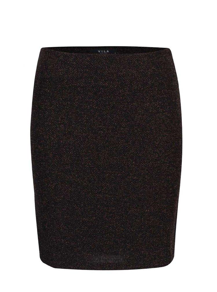 Čierna sukňa s vláknami v zlatej farbe VILA Luo Square
