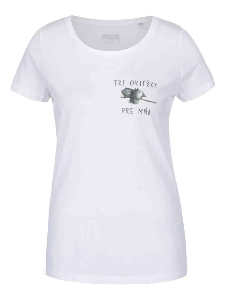 Bílé dámské tričko ZOOT Originál Tri oriešky pre mňa