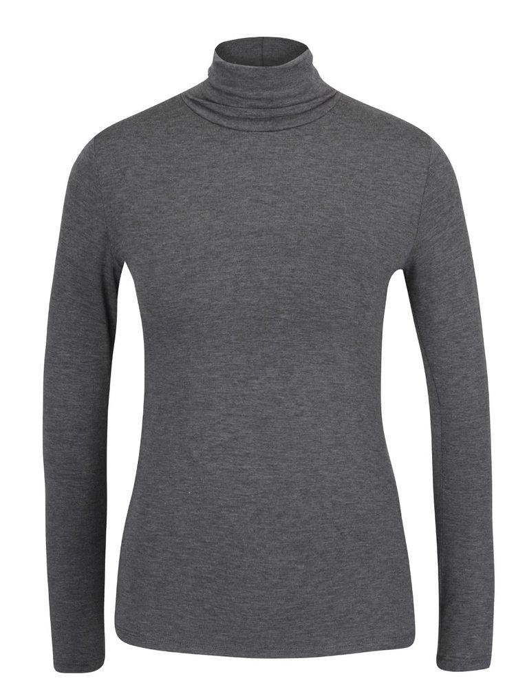 Tmavě šedé žíhané tričko s rolákem ZOOT