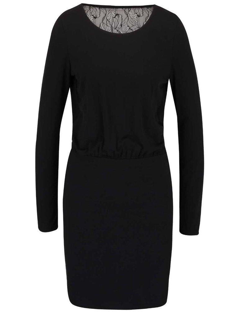 Černé šaty se síťovanými zády VILA Silia