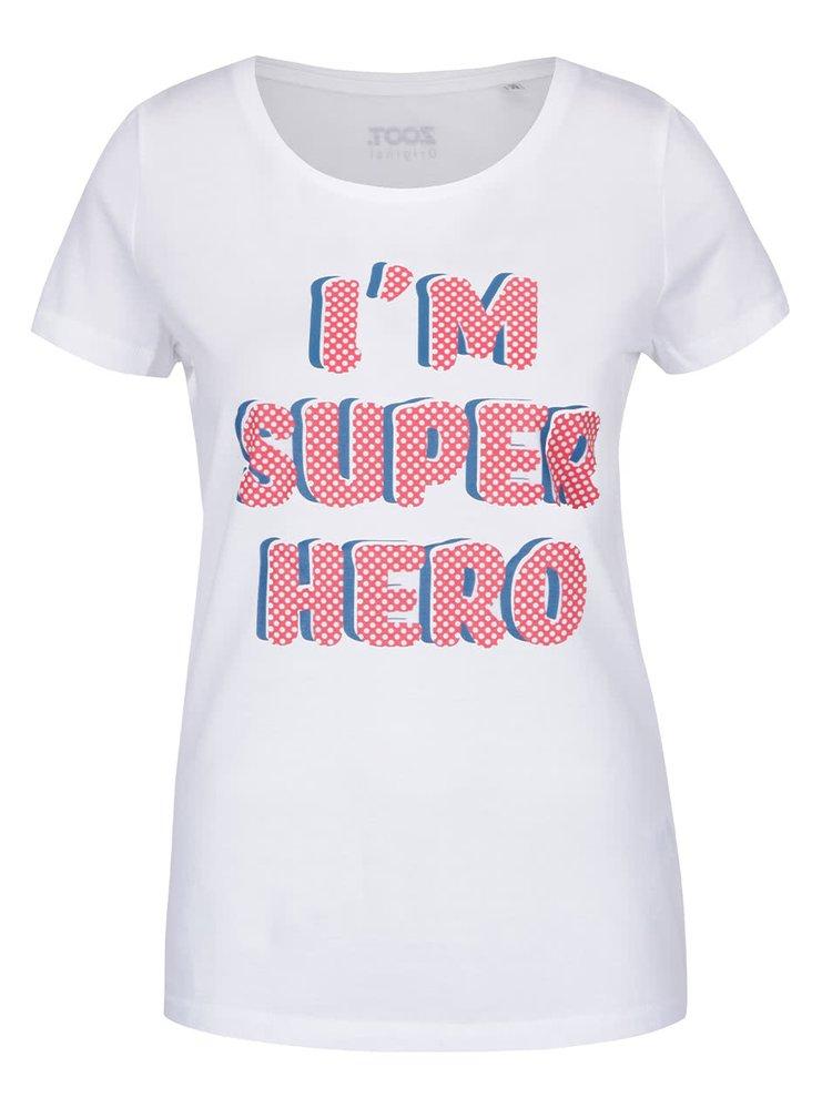 Tricou alb ZOOT Original I am super hero din bumbac pentru femei