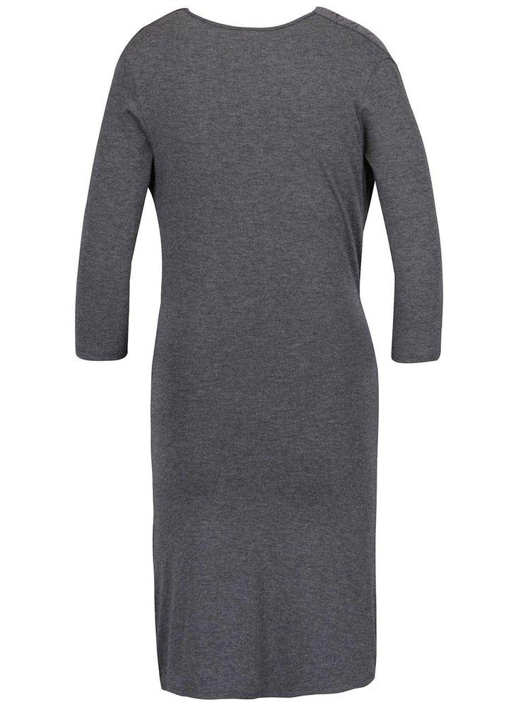 Šedé žíhané šaty s prověšeným výstřihem ZOOT