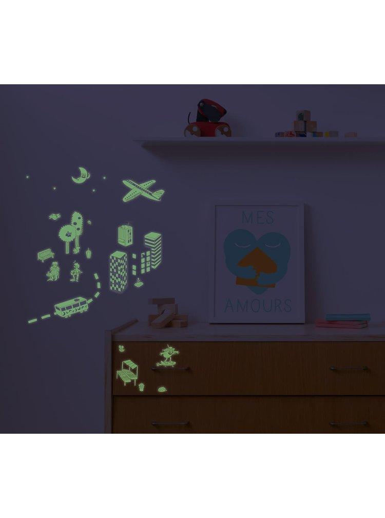Samolepky svítící ve tmě s motivem města OMY