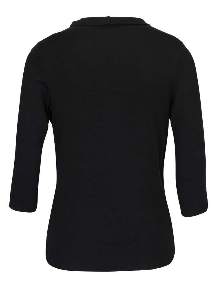 Bluza neagra cu guler fronsat si maneci 3/4 - ZOOT