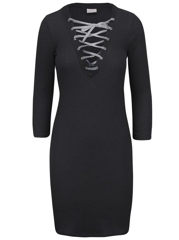 Černé šaty se šněrováním v dekoltu VERO MODA Seduno