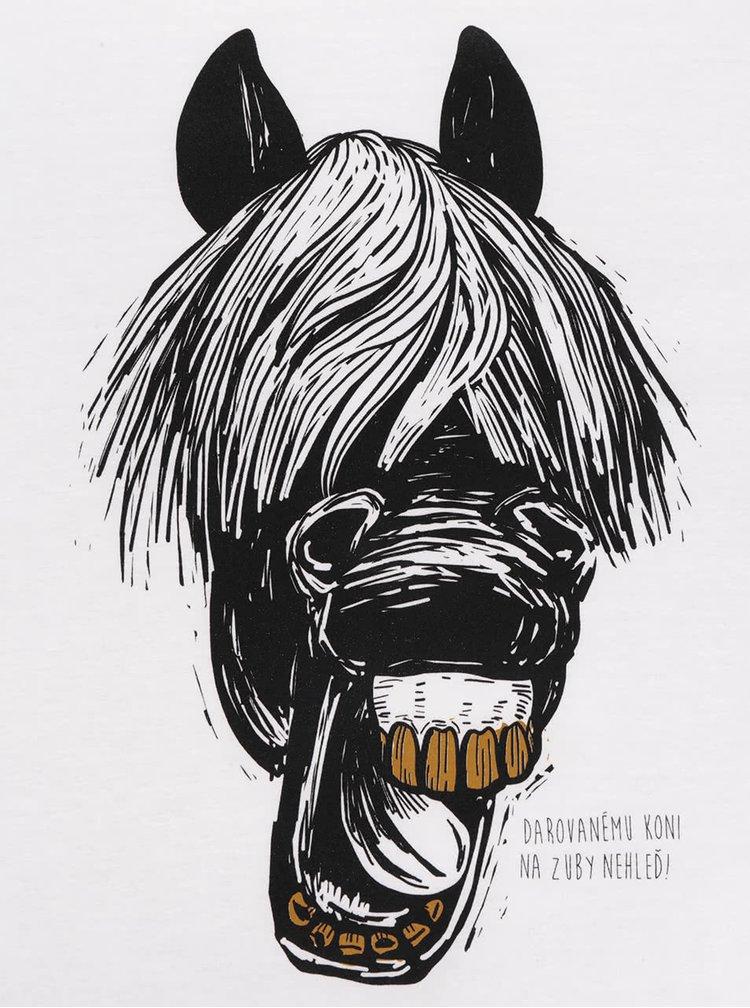Bílé pánské triko ZOOT Originál Darovanému koni na zuby nehleď