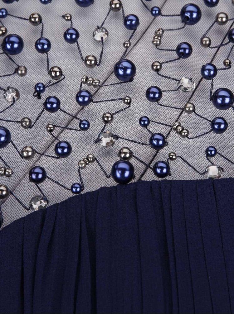 Tmavě modré maxišaty s plisovaným topem a korálky Little Mistress