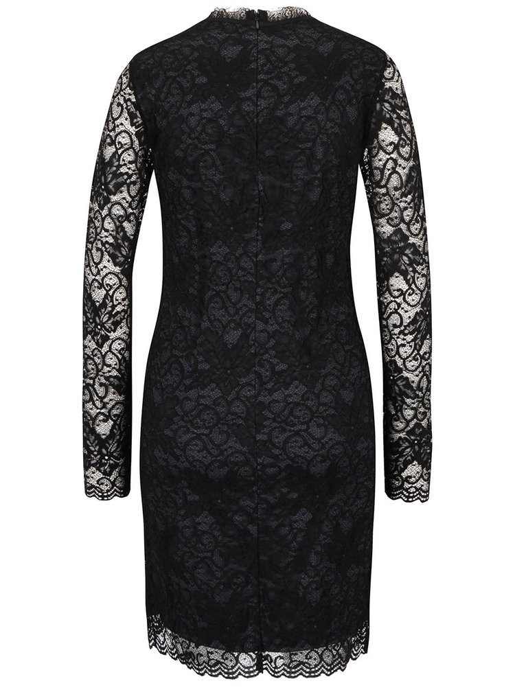 Černé krajkové šaty s dlouhým rukávěm VILA Piatri