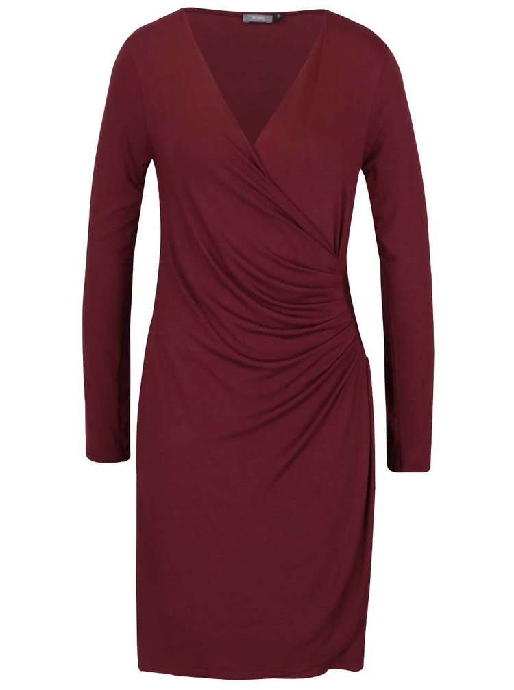Vínové šaty s překládaným výstřihem ZOOT
