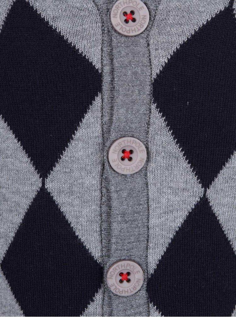 Modro-šedý klučičí svetr s kostkovanou přední částí North Pole Kids Maglia