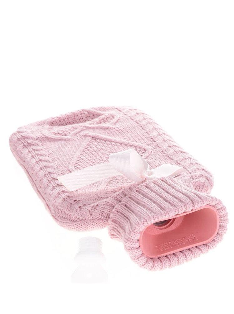 Set růžové hřejivé láhve na vodu a pletených ponožek Something Special