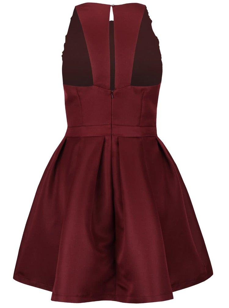 Vínové šaty s plastickými detaily s motivem květin Little Mistress