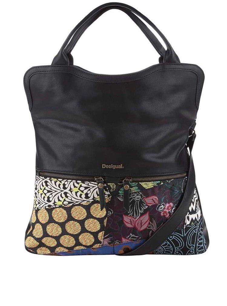 Čierna kabelka s farebnými vzormi Desigual Cordoba Hong Kong Patch