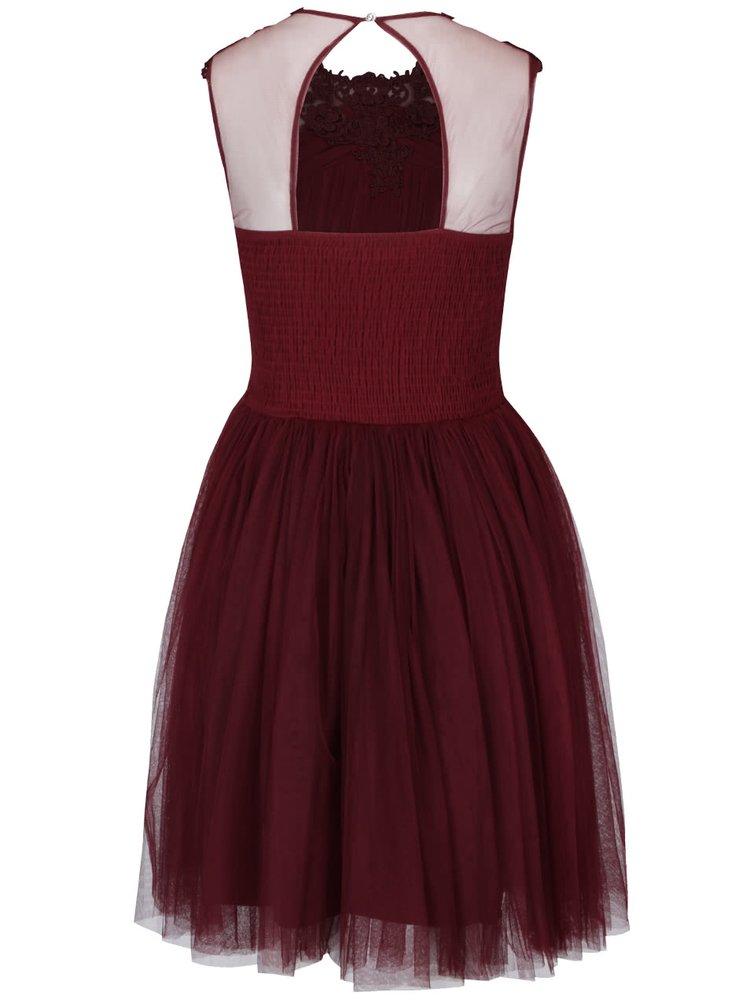 Vínové tylové šaty s čipkovanými detailmi Little Mistress