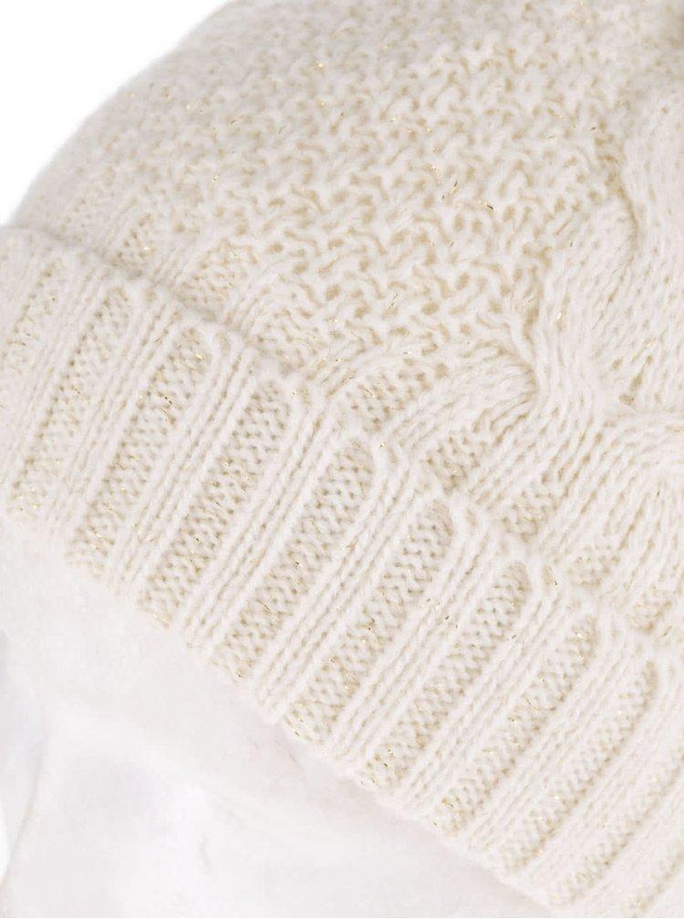 Krémová dámská čepice s bambulí a výhřevnými polštářky Something Special