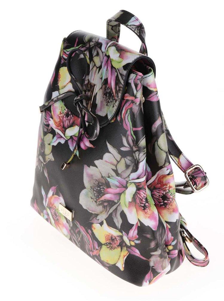 Černý menší batoh s barevným potiskem květin LYDC