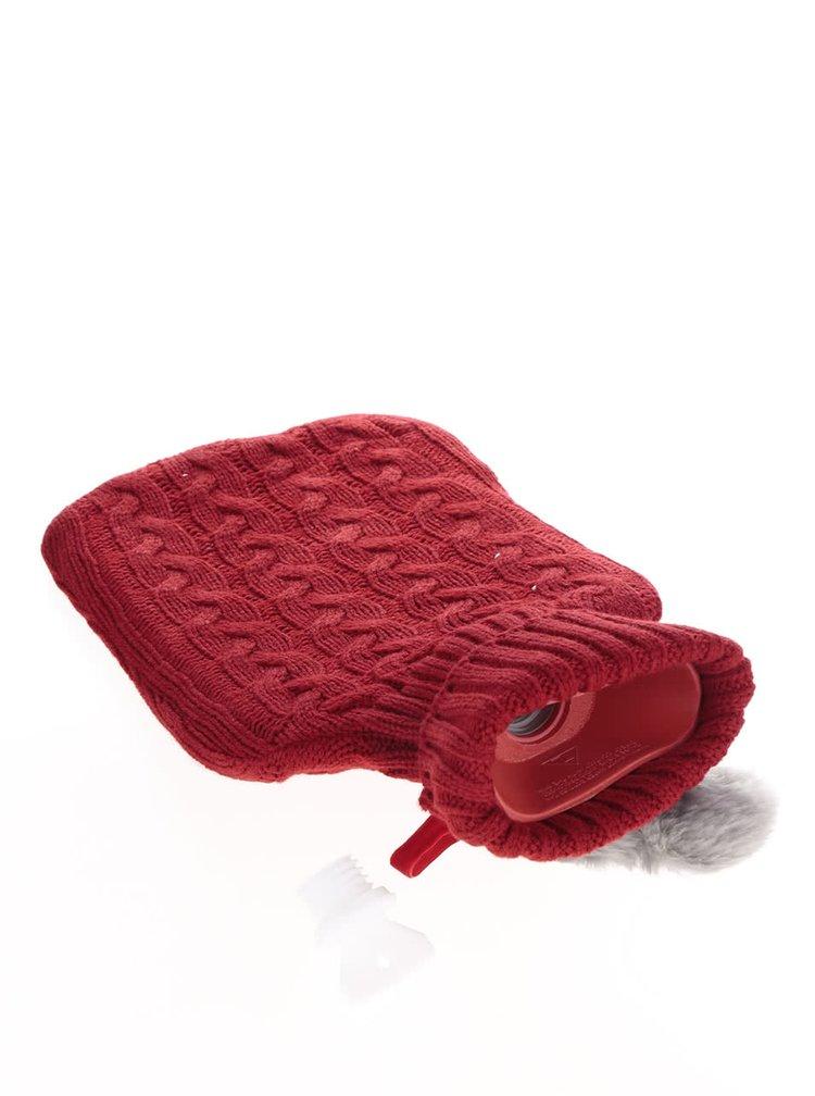 Punga termica rosie Something Special cu husa tricotata